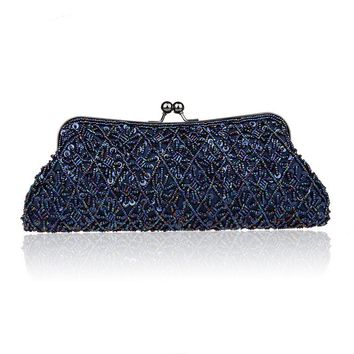 2016 New Arrival Navy Blue Lady Banquet Handbag Clutch Party Bridal Evening Bag Womens with Shoulder Chain Makeup Bag Bolso 1825