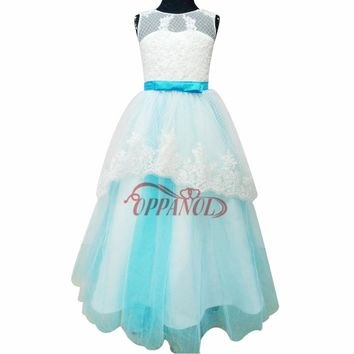 High Quality Princess Flower Girl Dress For Wedding Party Kid Graduation Gown Bow Sleeveless Summer Graduation Dresses Kid FGD14