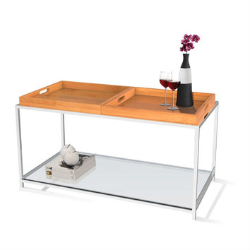 Contemporary Metal Coffee Table with 2 Removable Tray in Bamboo