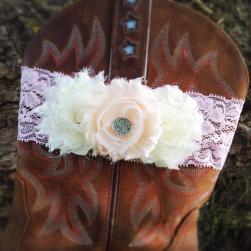 Lace Wedding Garter, Rustic Lace Boot Band, Pink Ivory Flower Garter, Wedding Lingerie, Vintage Lace Garter, Bridal Party Bridal Garter Belt