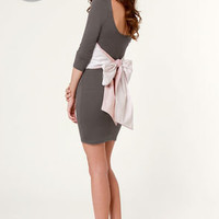LULUS Exclusive Two for the Bow Grey Dress