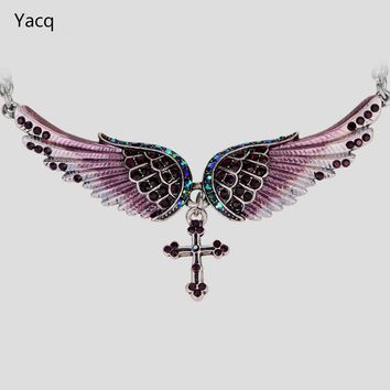 Angelic Wing Crystal Antique Silver Pendant Necklace