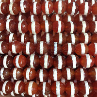 white striped faceted red agate beads - red carnelian Dzi Tibetan beads - red loose stone beads - red jewellery beads -15inch