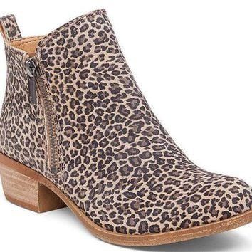 ICIKAB3 Lucky Brand Basel Sesame Persian Leopard Leather Booties