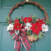 Poinsettia Door Basket, Christmas Basket, Christmas Door Decor