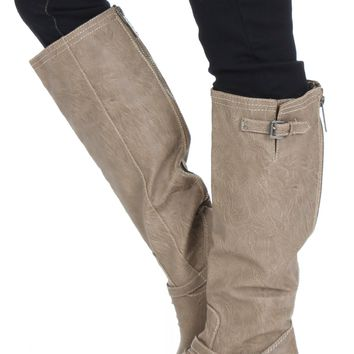 Buckle Riding Boots Beige