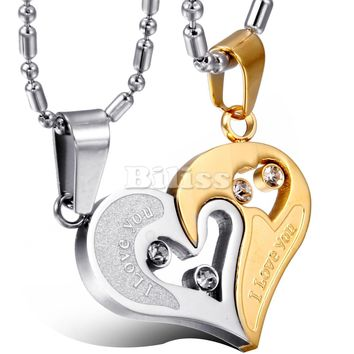 2 pcs/pair His and Hers Matching Heart Stainless Steel Pendant I Love You Engraved Necklace for Couples Lovers eu te amo