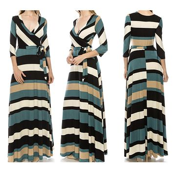 New Striped Teal Striped Faux Wrap Maxi Dress Size Large