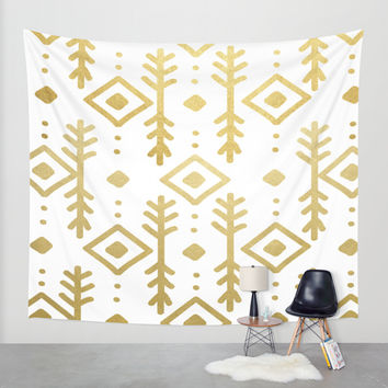 GOLD NORDIC Wall Tapestry by Nika | Society6