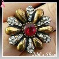 Authentic Turkish Ottoman Style Bronze Ring Encrusted With Ruby And Zirconia Stones. Ring Number Is 7 In US Size.