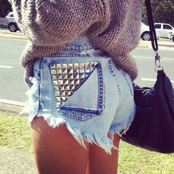 Vintage Pocket Studded High Waisted Shorts Limited Time Only