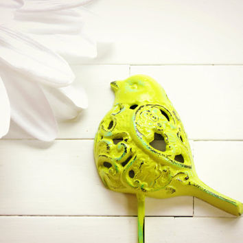 Lime Green Filigree Bird Hook / Customize Color / Metal Wall Decor / Shabby Chic / Towel Hook / Wall Hanging / For the Home / Garden Decor