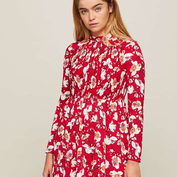 Red Floral Print Sheered Tea Dress | Missselfridge