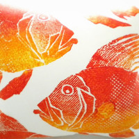 Beach house Indoor/Outdoor Fish print pillow cover Orange/tangerine 18 x 22