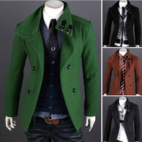 Designer Slim Fashion Wool Pea Coat