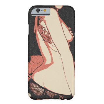 Tattoo brunette girl rear view, booty call black barely there iPhone 6 case