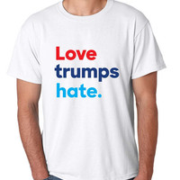 Men's T Shirt Love Trumps Hate Elections 2016 USA Tee
