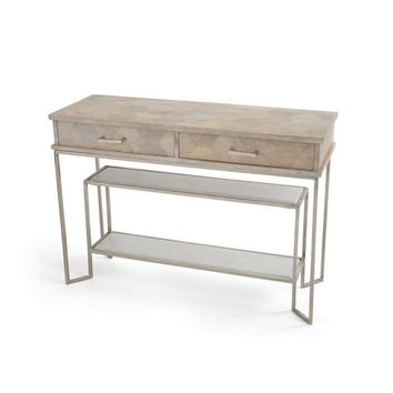 Marcello Console Iron Wood and Marble