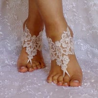Light Champagne ivory frame Beach wedding barefoot sandals