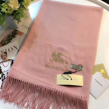 NOV9O2 Luxury Burberry Keep Warm Scarf Embroidery Scarves Winter Wool Shawl Feel Silky And Delicate - Pink