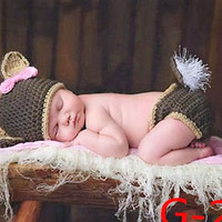 """"""" It's A Doe """" Handmade Deer Doe Newborn Baby Photo Prop Set White Tail 1st Photo Birth Announcement Hunting Camo Forest Theme"""