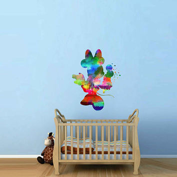 kcik2125 Full Color Wall decal Watercolor Character Disney Minnie Mouse children's room Sticker Disney