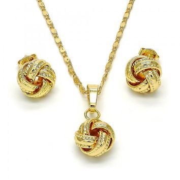 Gold Layered 10.63.0510 Necklace and Earring, Love Knot Design, Polished Finish, Golden Tone
