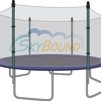 SkyBound 15 Foot Trampoline Net - Fits 15 Foot Frames with 6 Straight Enclosure Poles and Pole Caps with Bolts