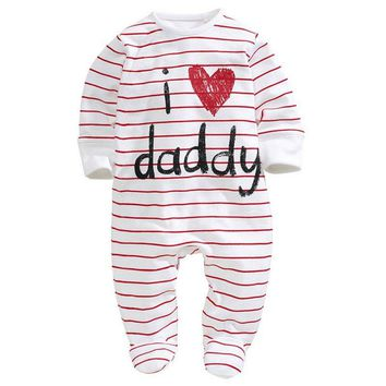 2017 New Arrived Funny Love Mummy Daddy Newborn Jumpsuit Cotton Long Sleeve Rompers  Baby Clothes 0-3Y