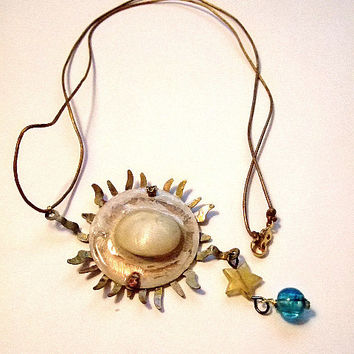 "Copper Sun and Shell Necklace, 13 3/8"" L, 26.75"" D, Pendant 4"", Thin Gold Leather w Gold Plated Clasp, Handmade Jewelry on Etsy, Unique Gift"