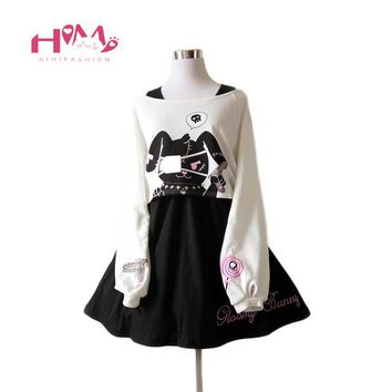 Black Comic Rabbit Dress Teens Girls 2 Pcs Suit Sweet Cotton Dress Short Cute Bunny Print Long Sleeves Japanese Lolita Dress