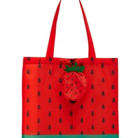Strawberry Print Pop-Out Tote Bag