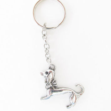 Rhinestone Dog Keychain - Gifts for Dog Lovers - Pet Owner Keychain - Silver Dog Charm Accessories - Dog Christmas Gifts - Small Keychain
