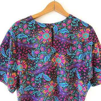 Wms 80's Hunt's Point SILKY FLORAL Keyhole Back Boxy Crop Top Blouse Sz L