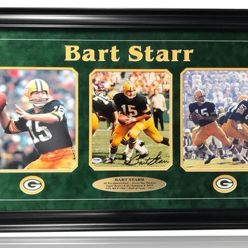 BART STARR SIGNED 8X10 FRAMED PHOTO PACKERS PSA/DNA COA AUTOGRAPH GREEN BAY