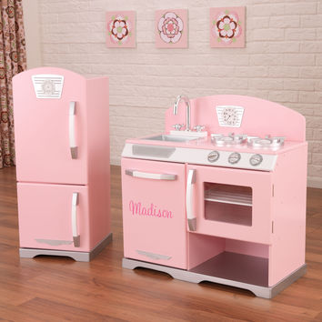 KidKraft Pink Retro Kitchen and Refrigerator - 53160