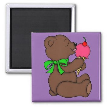 Teddy Bear with Ice Cream Cone 2 Inch Square Magnet