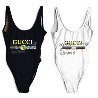 GUCCI Stylish Ladies Vest Style Hot Letter Print One Piece Bikini Swimsuit Bathing I