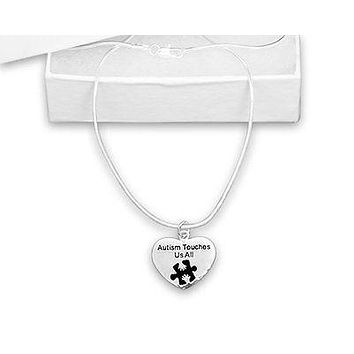 Autism Heart with Words Autism Touches Us All Necklace
