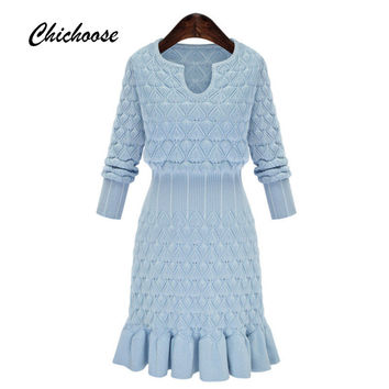 Simple Long Sleeve Women Dress 2016 Autumn Winter Dress Diamond Pattern Knit Dresses Slim Sweater Dresses Plus Size Mermaid