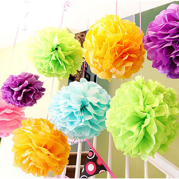 "45PCS 4"" 6"" 8"" (10CM,15CM,20CM)  Mixed Size&Color Tissue Paper Pom Poms Flowers Balls Pompom For Home Party Wedding Decoration"