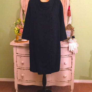 Black Wool Cashmere Coat, Minimalist Coat, Lightweight Coat, L/XL, 60s Vintage Coat, Long Black Jacket, Elegant Robe Coat, Soft Winter Coat