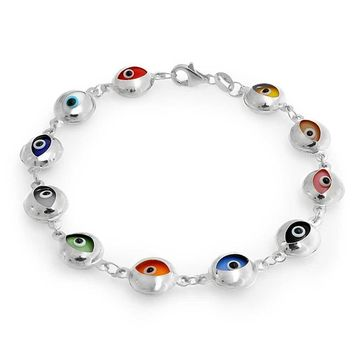 Turkish Evil Eye Glass Bracelet Protection 925 Sterling Silver