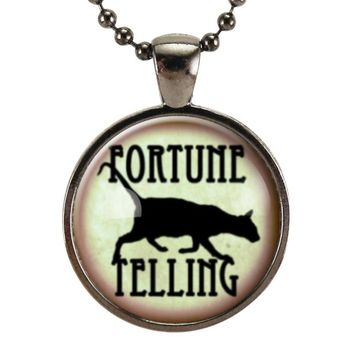 Fortune Teller Black Cat Necklace, Halloween Jewelry, Gypsy Pendant, Witch Necklace, Halloween Costume Accessories, Gothic Jewelry