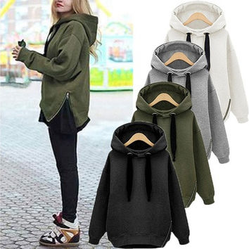 ZANZEA NEW Fashion Women Oversized Hoodies Long Sweatshirt Side Zip Jacket Coat Tops Plus Casual Sweatshirts [8834068748]