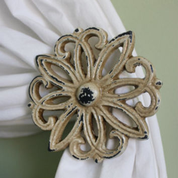 Curtain Tie Backs Set, Curtain Tiebacks, Curtain Holdbacks, Spindle, Cast Iron, Shabby Chic