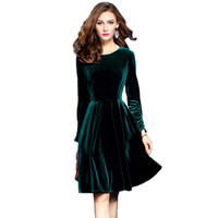 2017 Plus Size Womens Velvet Dresses Winter Dark Green Women Evening Party Dress Elegant A-Line Robe Femme Automne Hiver