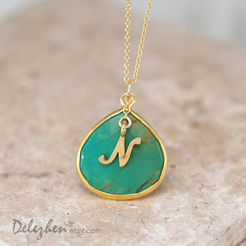 Personalized Necklace - Green Turquoise Necklace - Script Letter - Monogram Necklace - Gold Necklace - Personalized Jewelry