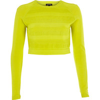 River Island Womens Lime ripple mesh knitted crop top