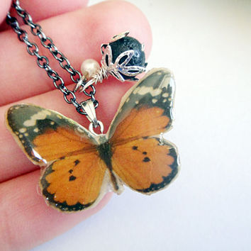 Orange Butterfly Necklace, Resin, Polymer Clay Jewelry